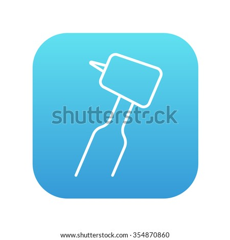 Dental drill line icon for web, mobile and infographics. Vector white icon on the blue gradient square with rounded corners isolated on white background. - stock vector
