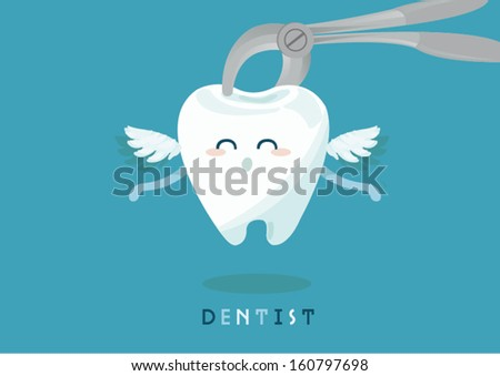 Dental extraction forceps and tooth - stock vector