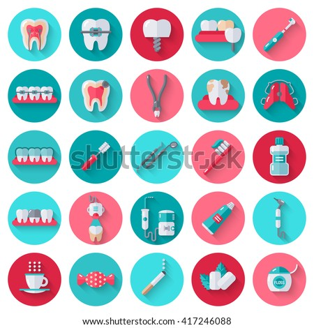 Dental Flat Icons Set in Circles. Vector Illustration for Dentistry and Orthodontics. Healthy Tooth, Transparent and Metallic Braces, Retainer, Veneers, Teeth Whitening, Cavity and Plaque - stock vector