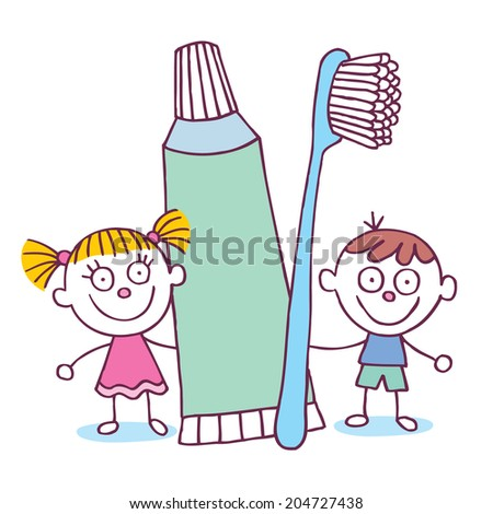 Dental Hygiene kids with toothbrush and toothpaste - stock vector