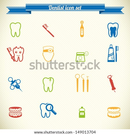 Dental icon set in color - stock vector