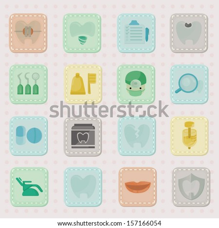dental Icon Vector Vintage style - stock vector