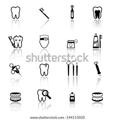 Dental icons set 2 - stock vector