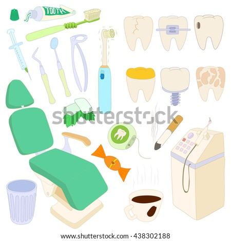 Dental icons set, cartoon style
