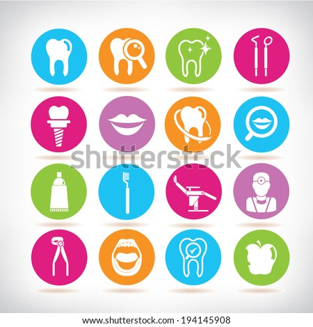 dental icons set, round button set - stock vector