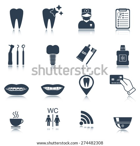 Dental icons. Silhouette. Glossy reflection. Isolated. Vector illustration - stock vector