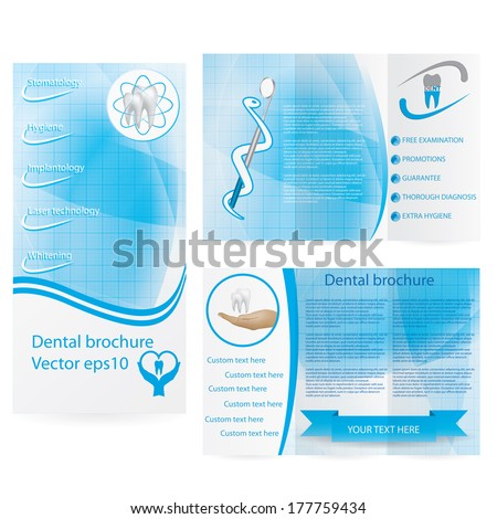 Dental illustration brochure blue design - stock vector