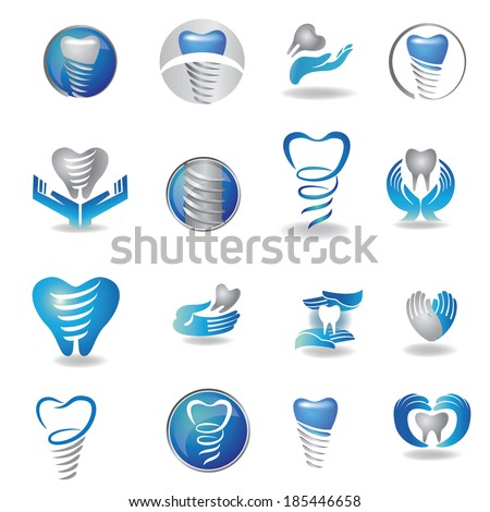 Dental implants symbol collection. Clean and bright designs.  - stock vector