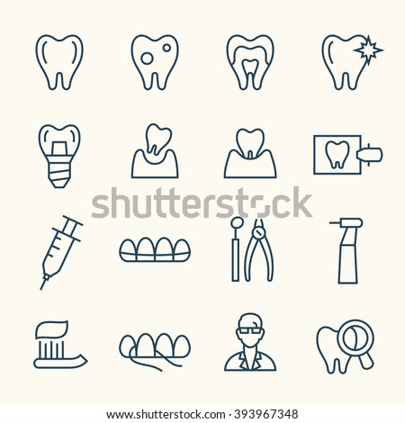 Dental line icons - stock vector