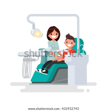 Dental office. Children's dentist and patient. Vector illustration of a flat design - stock vector
