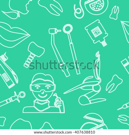 Dental seamless pattern. Linear icons. Flat design. Vector