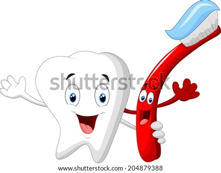 Dental Tooth and Toothbrush cartoon character - stock vector