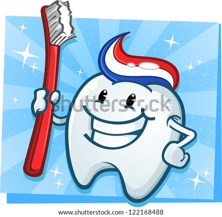 Dental Tooth Mascot Cartoon Character with Toothbrush - stock vector