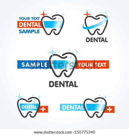 dental tooth symbol sign icons set - stock vector