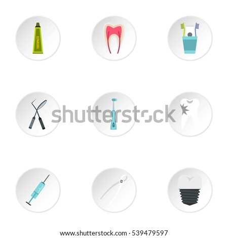 Dental treatment icons set. Flat illustration of 9 dental treatment vector icons for web