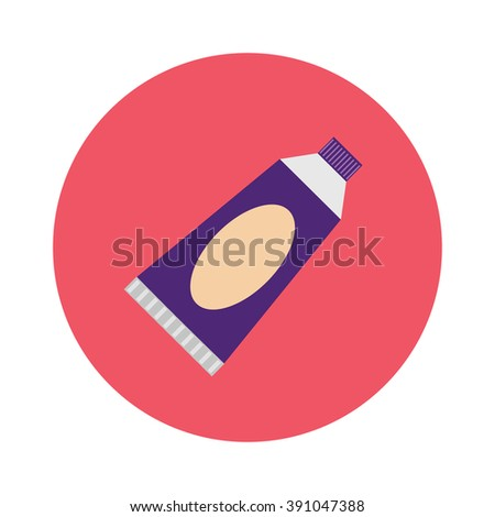 Dental tube toothpaste care flat cartoon vector illustration and tube toothpaste container and medical hygiene plastic tube toothpaste icon. - stock vector