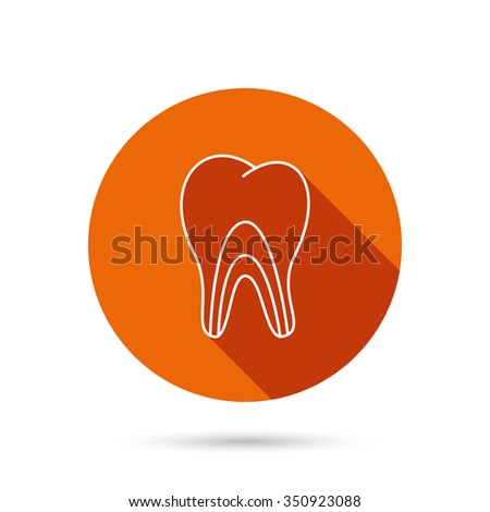 Dental tubules icon. Tooth medicine sign. Round orange web button with shadow. - stock vector