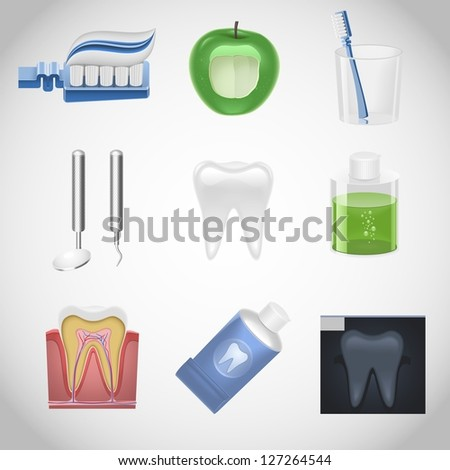 dental vector icon set - stock vector