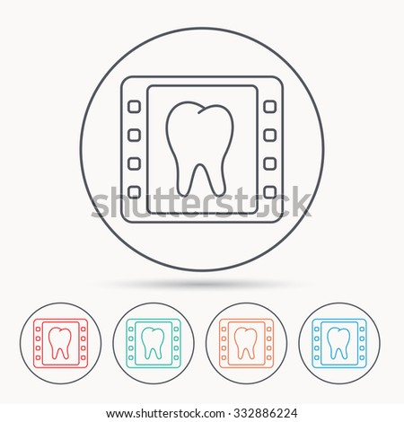 Dental x-ray icon. Orthodontic roentgen sign. Linear circle icons. - stock vector