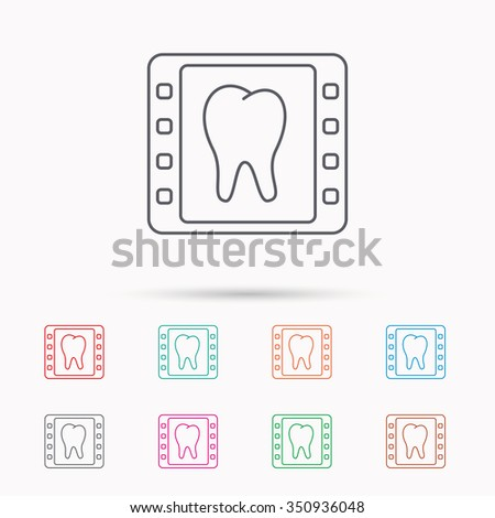 Dental x-ray icon. Orthodontic roentgen sign. Linear icons on white background. - stock vector