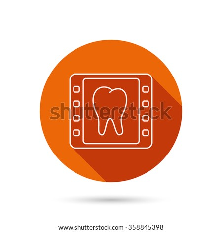 Dental x-ray icon. Orthodontic roentgen sign. Round orange web button with shadow. - stock vector