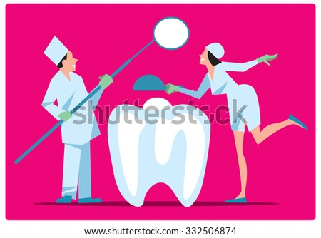 Dentist and his assistant examine teeth for diseases. Dental creative concept. Tooth, dentist, dental equipment. Dental care. Dentist doctor. Oral care. Vector illustration. - stock vector