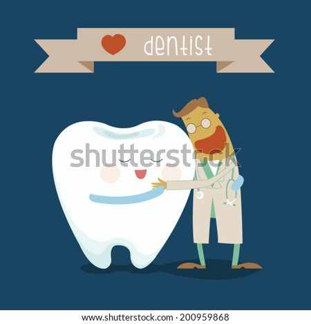 Dentist and tooth hug each other - stock vector