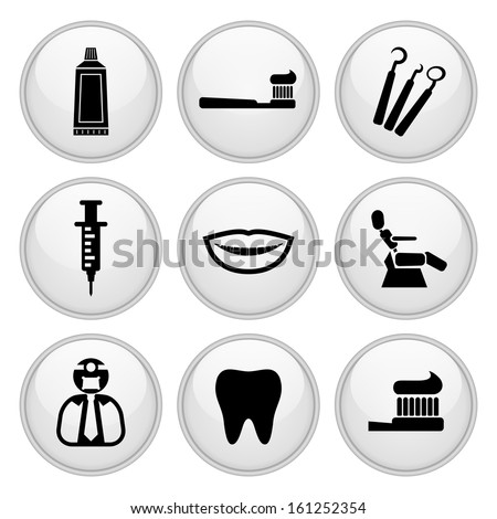 Dentist and Toothcare Icons Glossy White Button Icon Set - stock vector