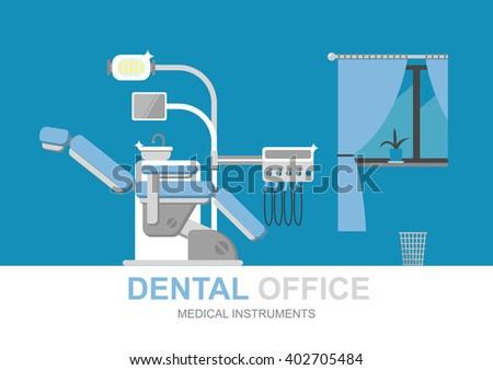 Dentist chair isolated. Dental office. Dental equipment. Modern flat illustration. Dentist office. Dental clinic. Medical equipment. Dentist doctor. Doctors office. Orthodontist. Dentist tools. - stock vector
