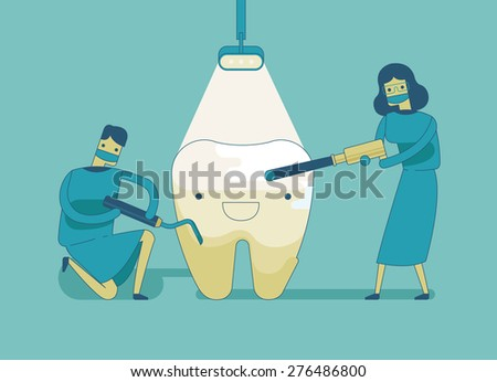 Dentist doing a dental treatment the tooth ,dental concept - stock vector