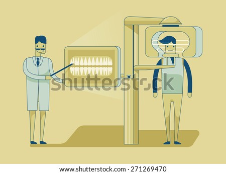 Dentist getting patient's teeth x-ray - stock vector