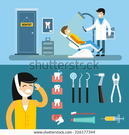 Dentist office illustration. Dentist doctor and patient with toothache vector. Dental care, tooth care tools, doctor office, tooth oral brush toothpaste. Dental clinic illustration vector. Dental care - stock vector