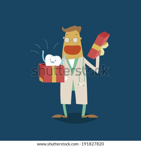 Dentist surprise for tooth of gift - stock vector