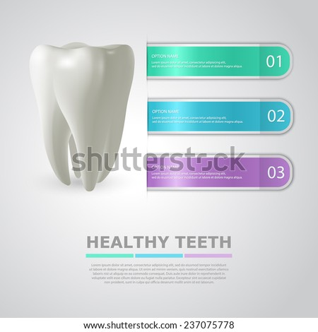 Dentistry info background with big realistic tooth and three colorful stripes - templates for infographics. Vector Illustration - stock vector