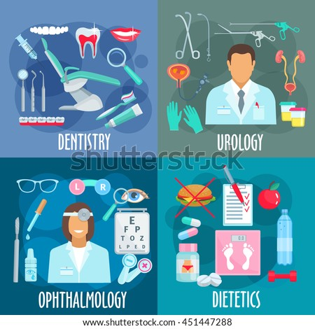 Dentistry with tools, urology with urologist, instrument and treatments, ophthalmology with optometrist and visual acuity test, dietetics with losing weight principles symbols. Healthcare icons