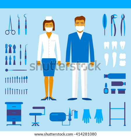 Dentists male and female in costume. Set of dentist tools and equipments - stock vector