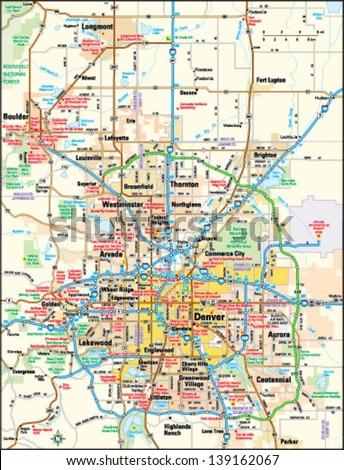 Denver Colorado Area Map Stock Vector (Royalty Free) 139162067 ...