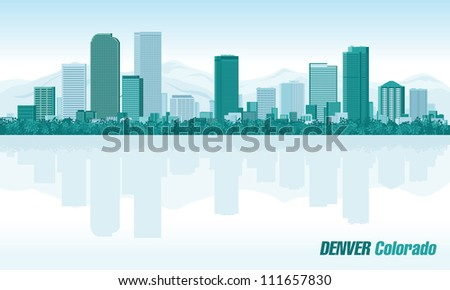 Denver Colorado detailed vector skyline - stock vector