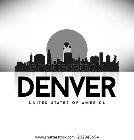Denver United States of America skyline silhouette, vector illustration. - stock vector