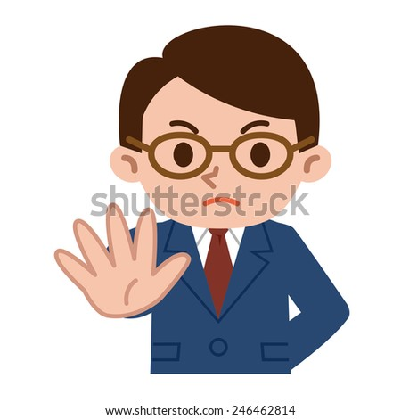 Deny young businessman - stock vector