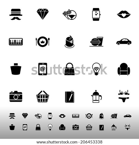 Department store item category icons on white background, stock vector