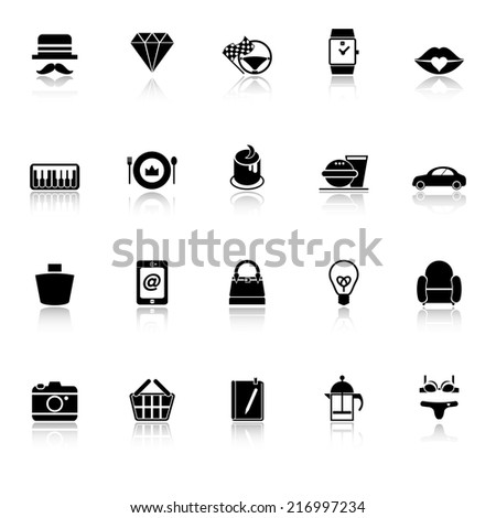 Department store item category icons with reflect on white background, stock vector