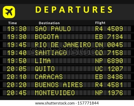 Departure board - destination airports. Busiest airports in South America: Sao Paulo, Bogota, Rio de Janeiro, Santiago, Lima, Quito, Caracas, Buenos Aires and Montevideo. - stock vector