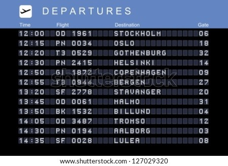 Departure board - destination airports. Vector illustration. Nordic destinations: Stockholm, Oslo, Gothenburg, Helsinki, Copenhagen, Bergen, Stavanger, Malmo, Billund, Tromso, Aalborg and Lulea.