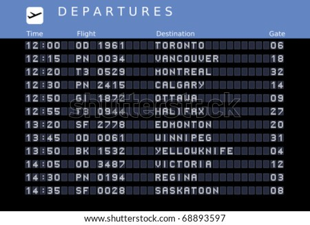 Departure board - destination airports. Vector illustration with font embedded outside the viewing area. Canada destinations: Toronto, Vancouver, Montreal, Ottawa, Calgary, Halifax, Edmonton, Winnipeg