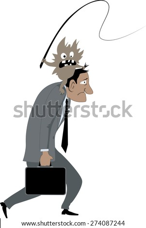 Depressed man carrying a mad demon with a whip on his shoulders as a metaphor for psychological problems or addiction, vector illustration, no transparencies, EPS 8 - stock vector