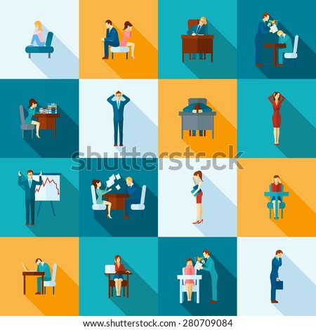 Depression frustration and stress at work icons flat set  isolated vector illustration - stock vector