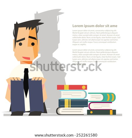 depression hates reading books - vector illustration - stock vector