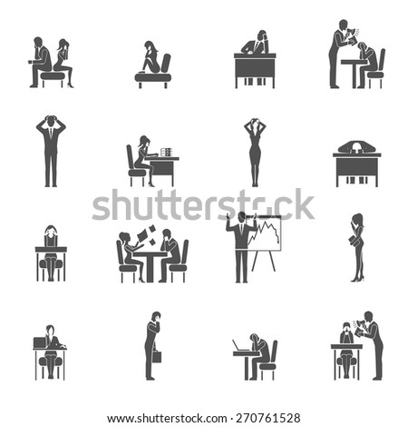 Depression sadness and desperation black icon set isolated vector illustration - stock vector