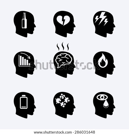 Depression, stress concept or mental health icons set. Load desperate, emotional desperation, pressure and stressful, symbol trouble and sadness. Vector illustration - stock vector